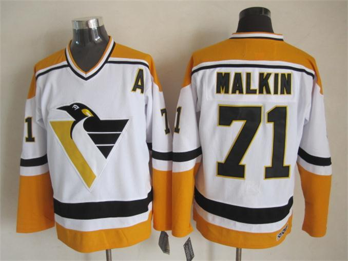 NHL Pittsburgh Penguins 71 malkin white1 Throwback Jersey