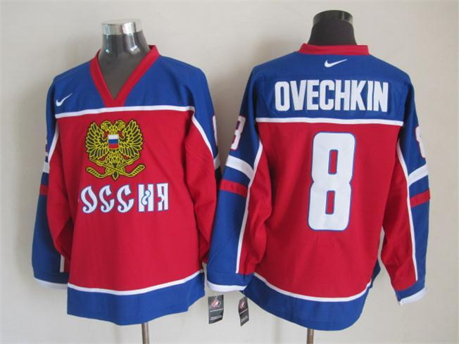 NHL Washington Capitals 8 ovechkin blue Throwback Jersey