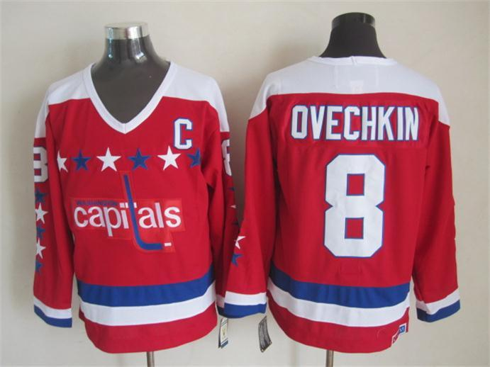 NHL Washington Capitals 8 ovechkin red Throwback Jersey