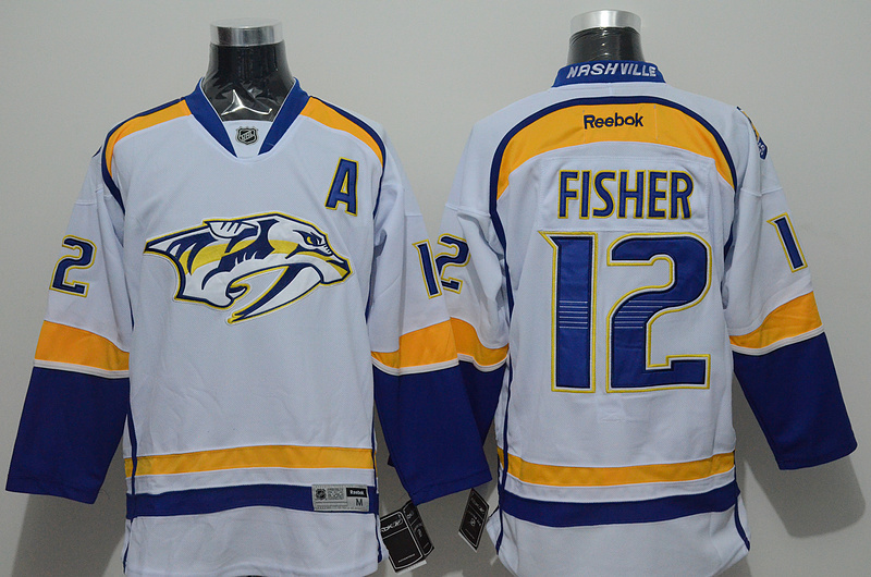 NHL Nashville Predators 12 fisher white Jersey