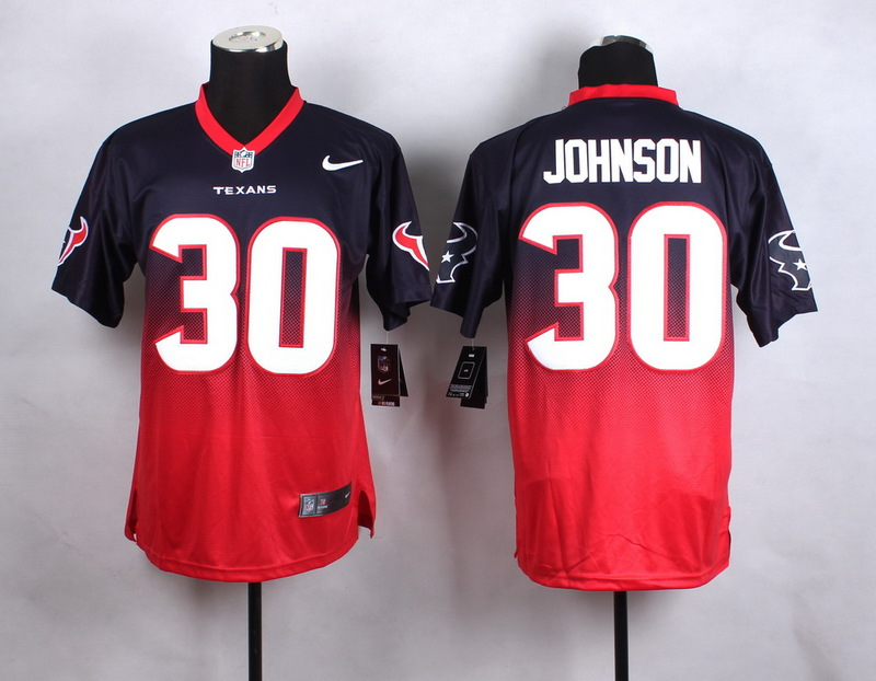 Houston Texans 30 Johnson Blue Red 2015 Nlike Drift Fashion II Elite Jerseys