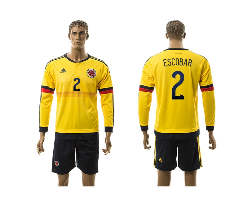 2015 Columbia 2 ESCOBAR Home Yellow Long Sleeve Soccer Jersey