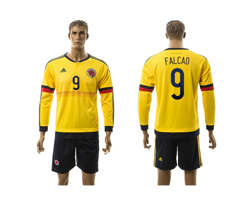 2015 Columbia 9 FALCAO Home Yellow Long Sleeve Soccer Jersey