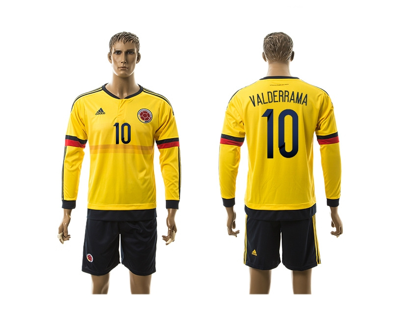 2015 Columbia 10 VALDERRAMA Home Yellow Long Sleeve Soccer Jersey