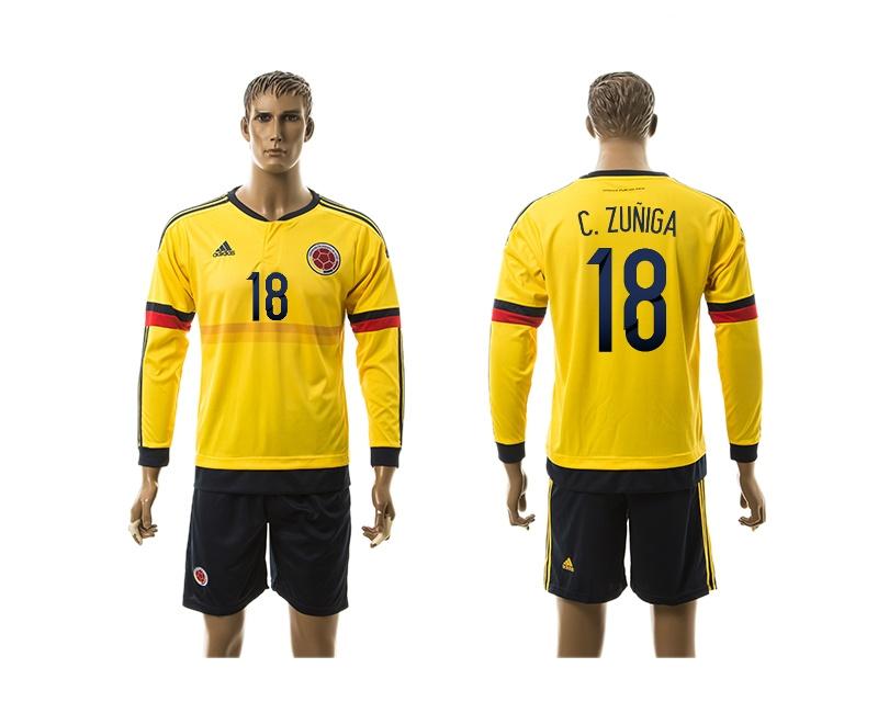 2015 Columbia 18 C.ZUNIGA Home Yellow Long Sleeve Soccer Jersey