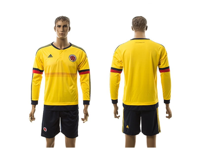 2015 Columbia Blank Home Yellow Long Sleeve Soccer Jersey