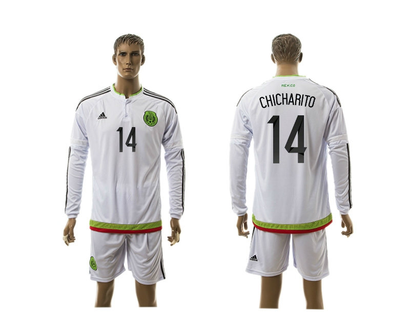 2015 Mexico 14 CHICHARITO Copa America Long Sleeve Away White Soccer Jersey