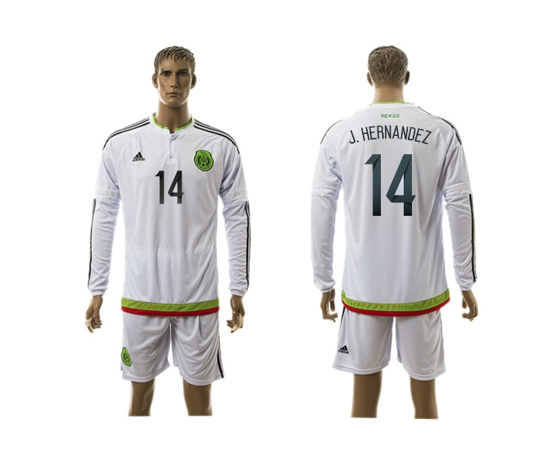 2015 Mexico 14 J.HERNANDEZ Copa America Long Sleeve Away White Soccer Jersey