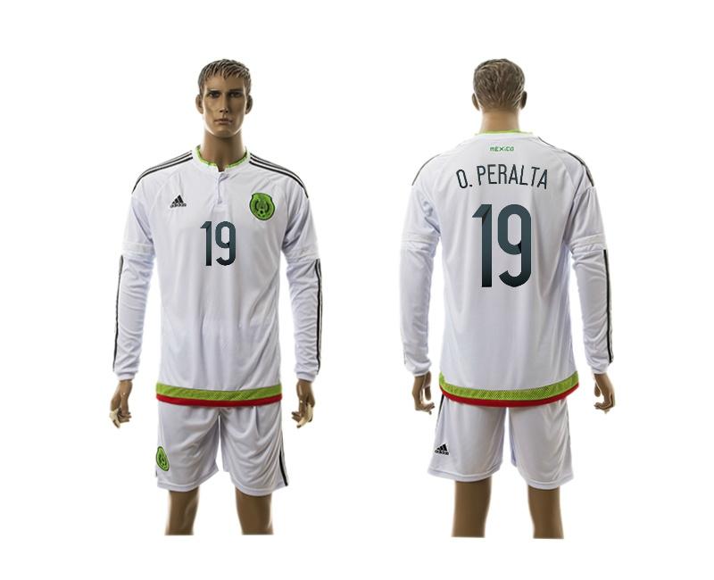 2015 Mexico 19 O.PERALTA Copa America Long Sleeve Away White Soccer Jersey