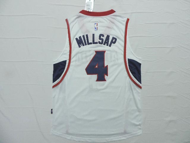 NBA Atlanta Hawks 4 Paul Millsap White 2015 Jerseys