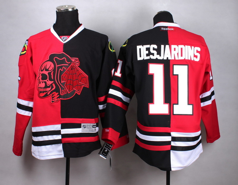 NHL Chicago Blackhawks 11 Desjardins black red Split red black Skull Jersey