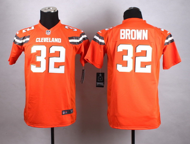 Youth Cleveland Browns 32 Brown Orange New 2015 Nike Jersey
