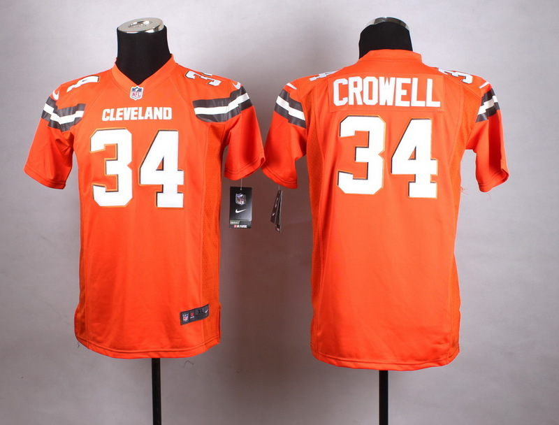 Youth Cleveland Browns 34 Crowell Orange New 2015 Nike Jersey