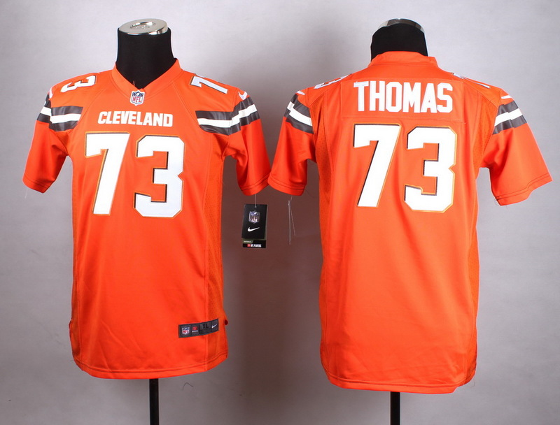 Youth Cleveland Browns 73 Thomas Orange New 2015 Nike Jersey
