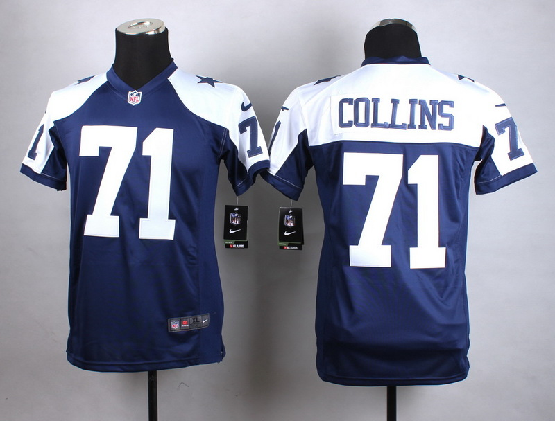 Youth Dallas Cowboys 71 Collins Blue Thanksgiving New 2015 Nike Jersey