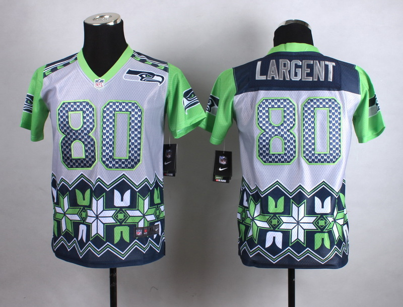 Youth Seattle Seahawks 80 Largent Grey 2015 New Style Noble Fashion Jerseys