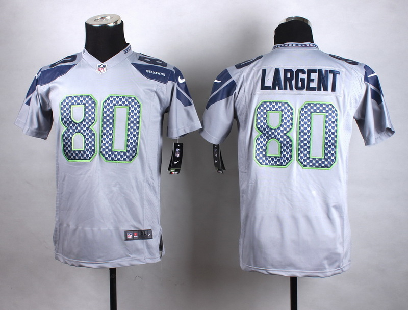 Youth Seattle Seahawks 80 Largent Grey New 2015 Nike Jersey