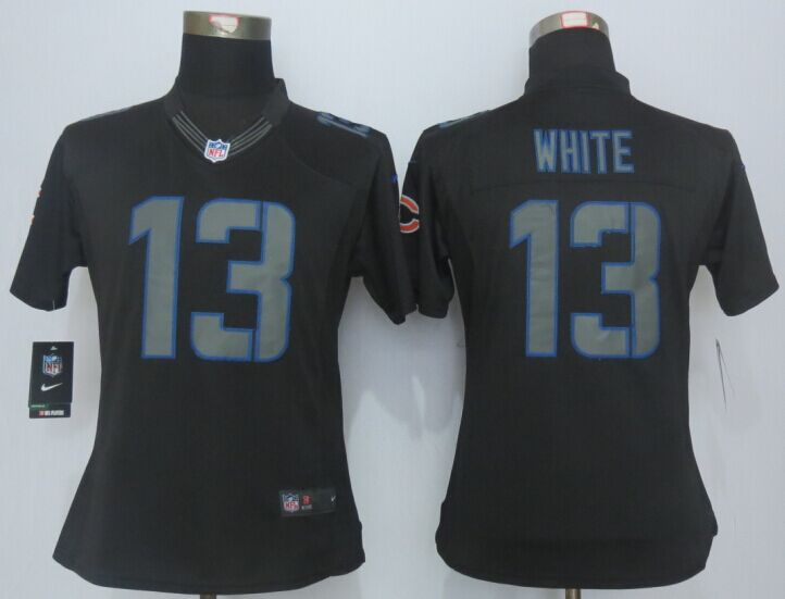 Womens Chicago Bears 13 White Impact Limited Black New 2015 Nike Jersey