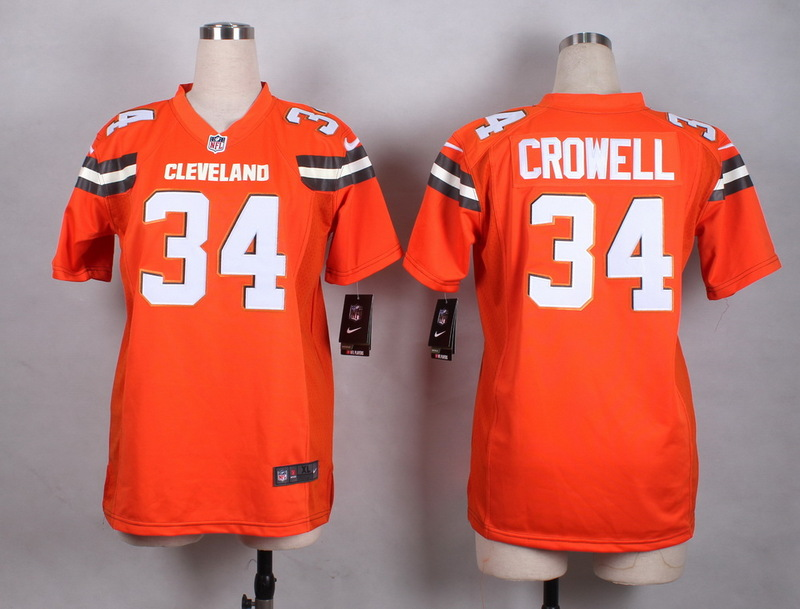 Womens Cleveland Browns 34 Crowell Orange New 2015 Nike Jersey