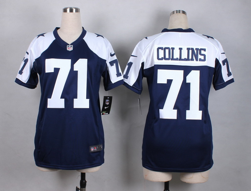 Womens Dallas Cowboys 71 Collins Blue Thanksgiving New 2015 Nike Jersey