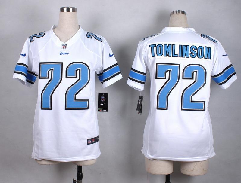 Womens Detroit Lions 72 Tomlinson White New 2015 Nike Jersey