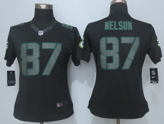 Womens Green Bay Packers 87 Nelson Impact New Nike Limited Black Jerseys