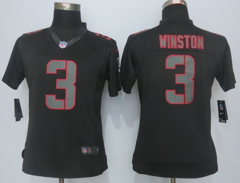 Womens Tampa Bay Buccaneers 3 Winston Impact Limited Black New 2015 Nike Jersey