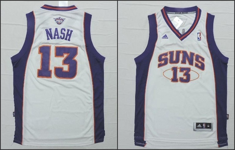 NBA Phoenix Suns 13 Steve Nash White 2015 Jerseys