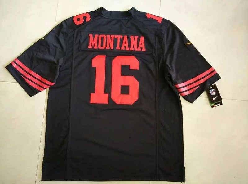 San Francisco 49ers 16 Montana Black New 2015 Nike Limited Jersey