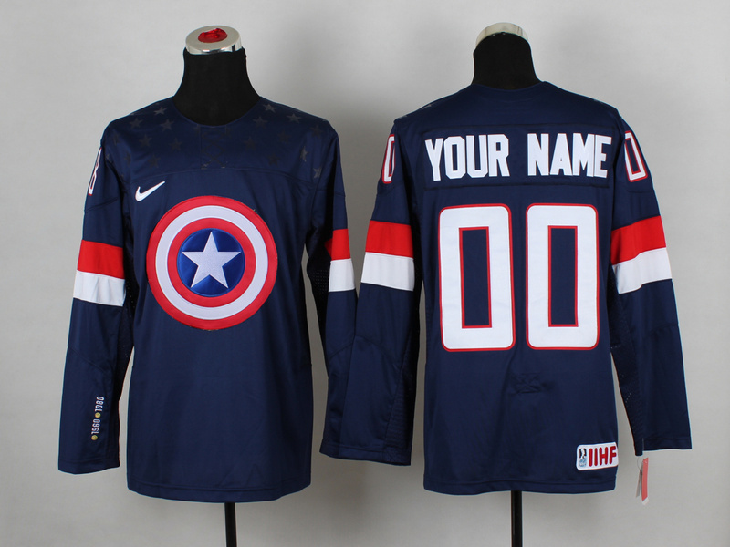 NHL 00 your name Blue Captain America Fashion Jerseys
