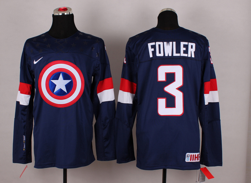 NHL 3 fowler blue Captain America Fashion Jerseys