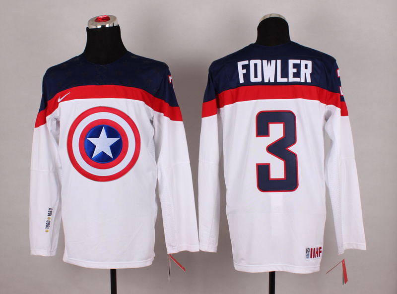 NHL 3 fowler White Captain America Fashion Jerseys