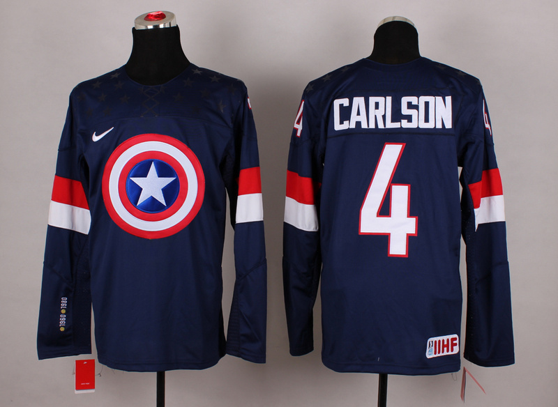NHL 4 carlson blue Captain America Fashion Jerseys