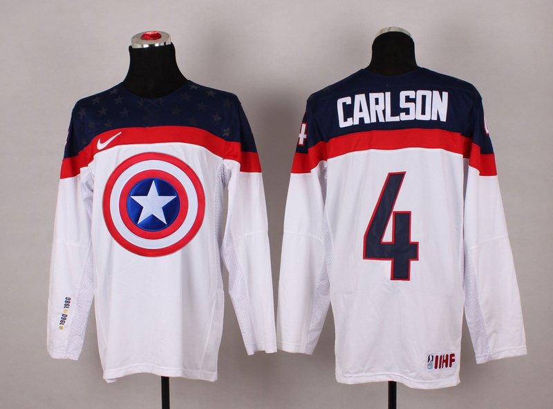 NHL 4 carlson White Captain America Fashion Jerseys