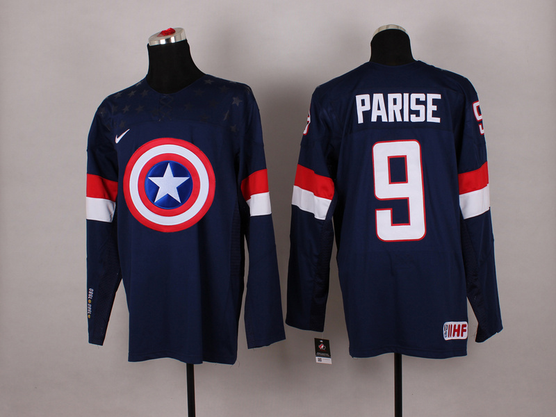 NHL 9 Parise blue Captain America Fashion Jerseys