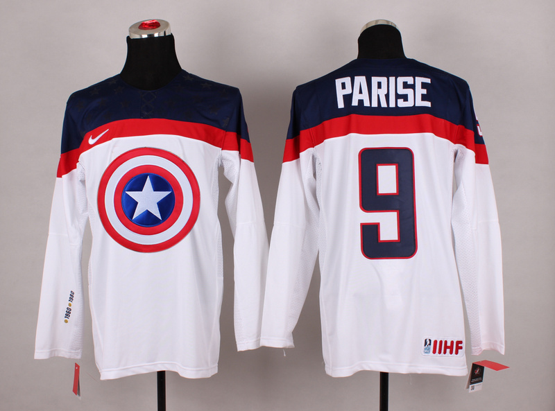 NHL 9 Parise white Captain America Fashion Jerseys