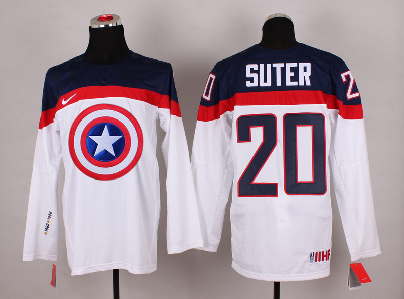 NHL 20 suter white Captain America Fashion Jerseys