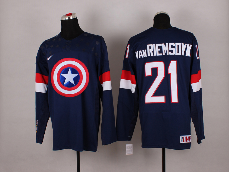 NHL 21 van Riemsoyk BLUE Captain America Fashion Jerseys