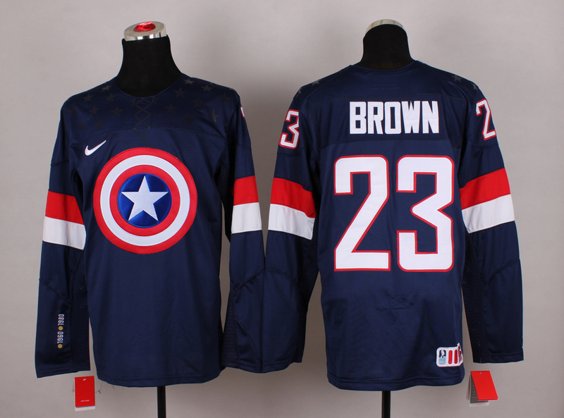 NHL 23 brown blue Captain America Fashion Jerseys
