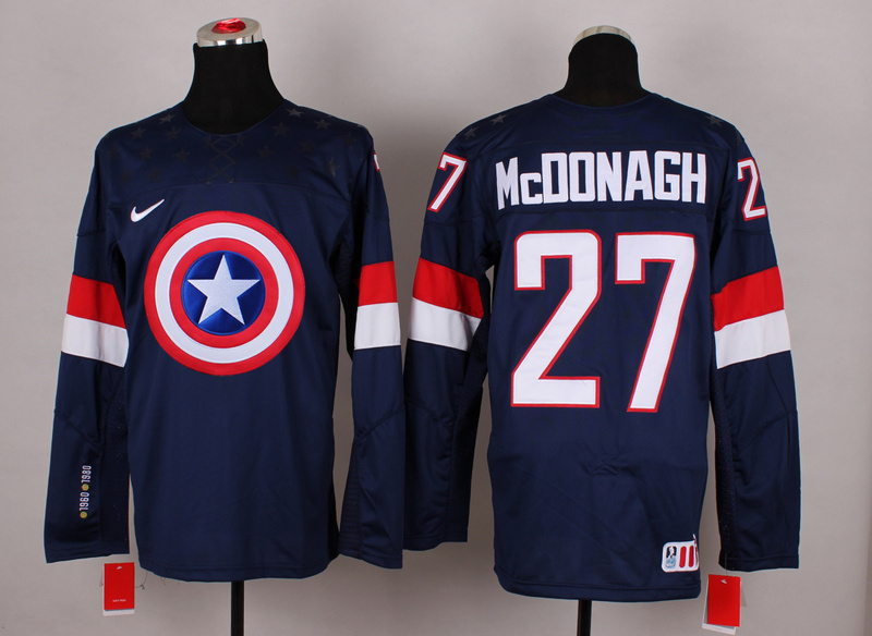 NHL 27 mcdonagh blue Captain America Fashion Jerseys