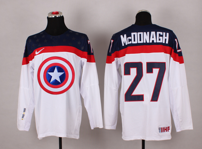 NHL 27 mcdonagh white Captain America Fashion Jerseys