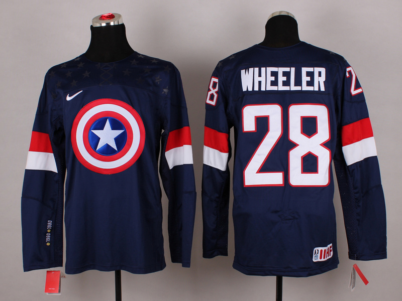 NHL 28 wheeler blue Captain America Fashion Jerseys