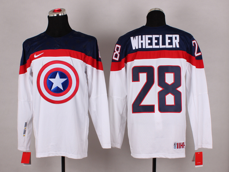 NHL 28 wheeler white Captain America Fashion Jerseys