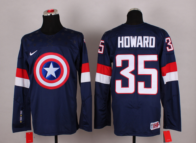 NHL 35 howard blue Captain America Fashion Jerseys