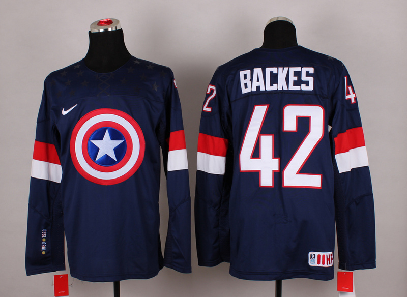 NHL 42 backes blue Captain America Fashion Jerseys