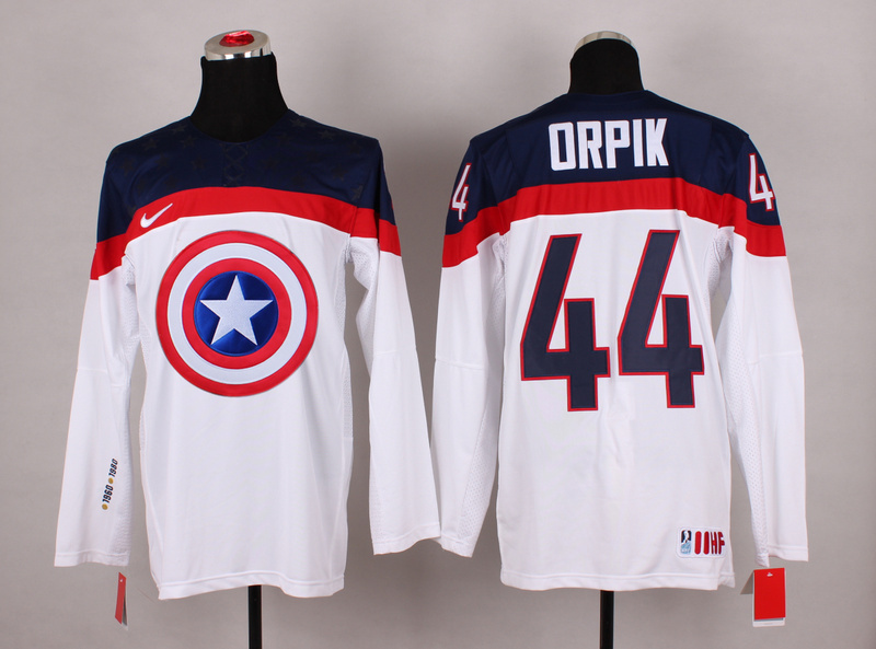 NHL 44 orpik white Captain America Fashion Jerseys