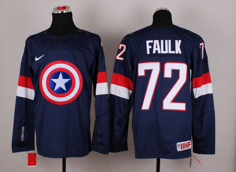 NHL 72 faulk blue Captain America Fashion Jerseys