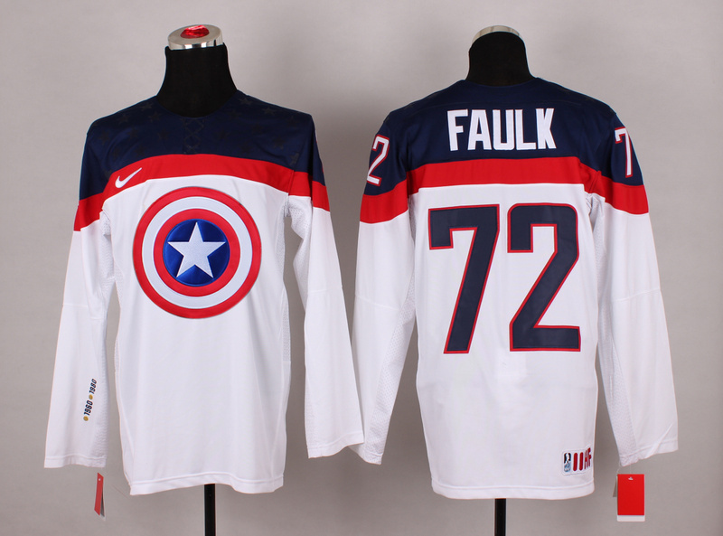 NHL 72 faulk white Captain America Fashion Jerseys