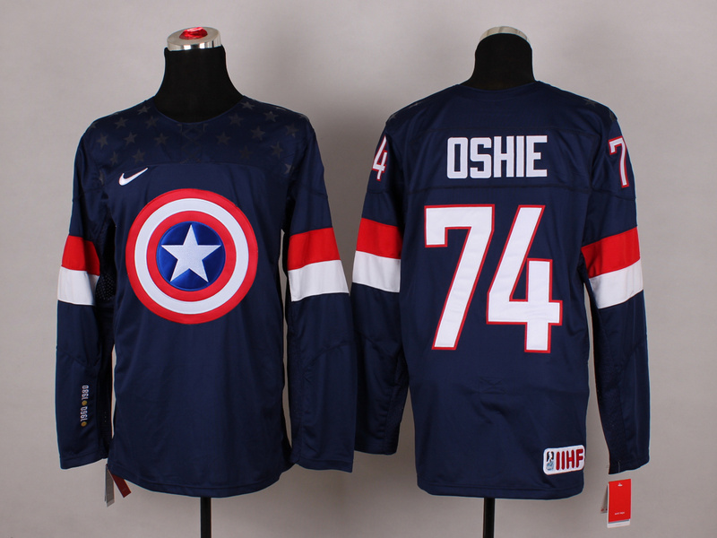 NHL 74 oahie BLUE Captain America Fashion Jerseys