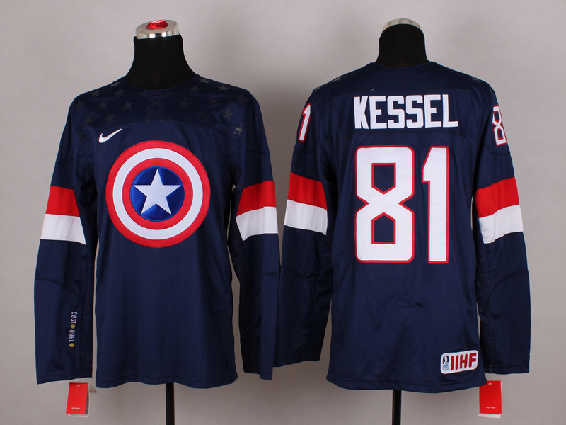 NHL 81 kessel blue Captain America Fashion Jerseys
